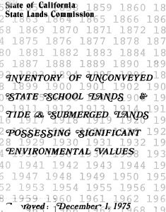 Cover of the 1977 report Inventory of Unconveyed State School Lands and Tide and Submerged Lands Possessing Significant Environmental Values