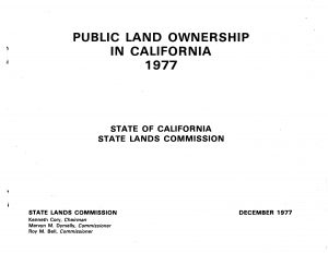 Cover of the 1977 report on Public Land Ownership in CA