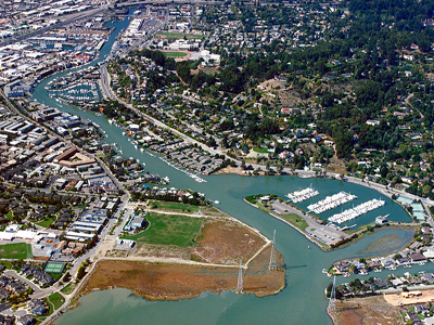 Aerial photo of San Rafael California Canal By Robert Campbell, U.S. Army Corps of Engineers [Public domain], via Wikimedia Commons
